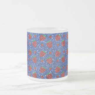 Blue strawberry glitter 10 oz frosted glass coffee mug