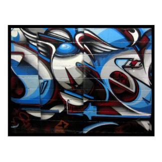 blue street art postcard