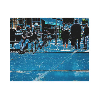 Blue street view canvas print