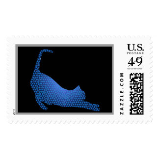 Blue Stretched Cat Custom Postage