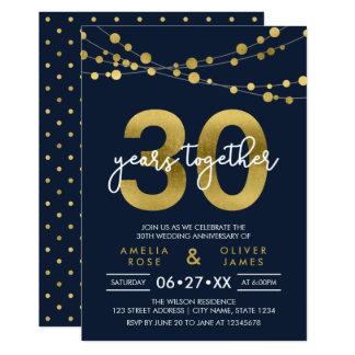 Blue Strings of Lights 30th Wedding Anniversary Invitation