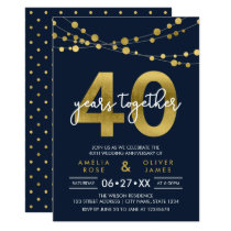 Blue Strings of Lights 40th Wedding Anniversary Card