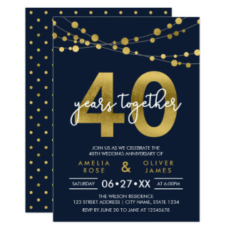 Blue Strings of Lights 40th Wedding Anniversary Invitation