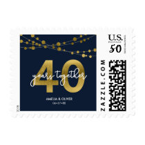 Blue Strings of Lights 40th Wedding Anniversary Postage