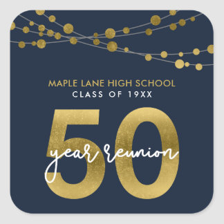 Blue Strings of Lights 50 Year School Reunion Square Sticker
