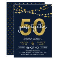 Blue Strings of Lights 50th Wedding Anniversary Card