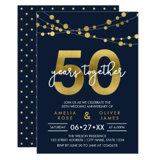 Blue Strings of Lights 50th Wedding Anniversary Invitation