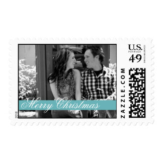 Blue Strip Merry Christmas Holiday Photo Stamps