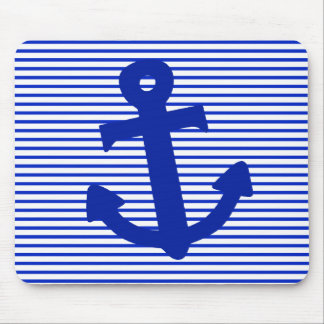 Blue Stripe Anchor Mouse Pad