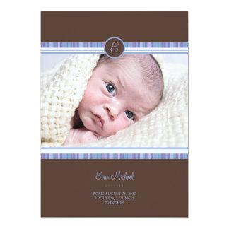 Blue Stripe Baby Announcement