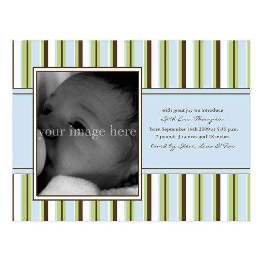 Blue Stripe Baby Announcement Postcard