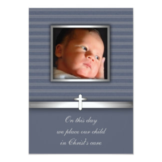 Blue Stripe Baby Boy Photo Christening 5x7 Paper Invitation Card