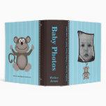 Blue Stripe Baby Photo Album with Monkey 3 Ring Binder