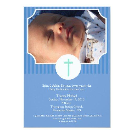 Blue Stripe Baptism Baby Dedication 5x7 photo Card