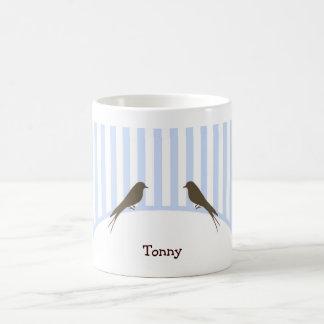 Blue Stripe Birds Mug