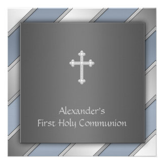 Blue Stripe Boys First Communion Personalized Invites