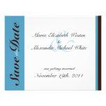 Blue Stripe Chocolate Brown Save the Dates Invitation