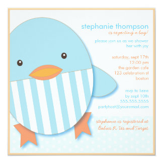 Blue Stripe Ducky Baby Boy Shower Invitation