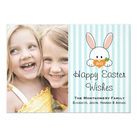 Blue Stripe Easter Bunny Photo Card