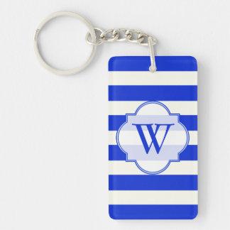 Blue stripe Fashion Double-Sided Rectangular Acrylic Keychain