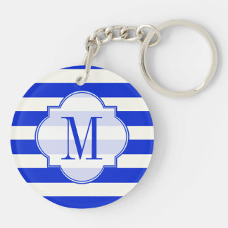 Blue stripe Fashion Double-Sided Round Acrylic Keychain