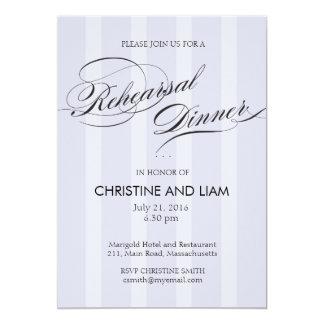 Blue Stripe Flourish Script Rehearsal Dinner Card