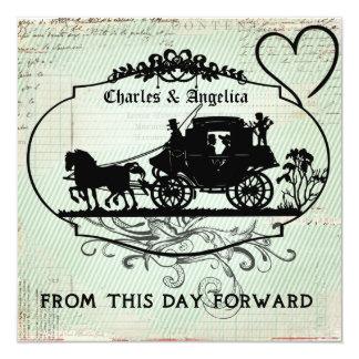 "Blue Stripe From This Day Forward  Wedding Invite 5.25"" Square Invitation Card"