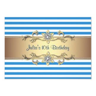 Blue Stripe Gold Flowers 10th Birthday Invitation