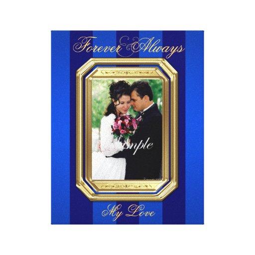 Blue Stripe Gold Frame Forever Photo Canvas Print