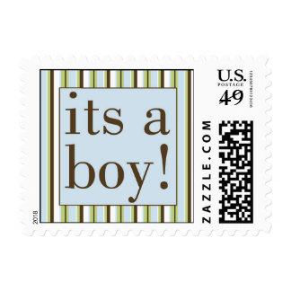 Blue Stripe Its a Boy Postage