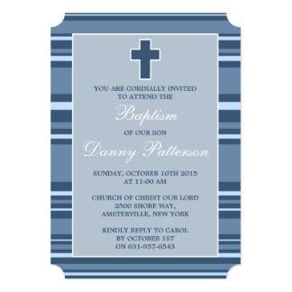 Blue Stripe Modern Cross First Holy Communion Card