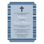 Blue Stripe Modern Cross First Holy Communion 5x7 Paper Invitation Card