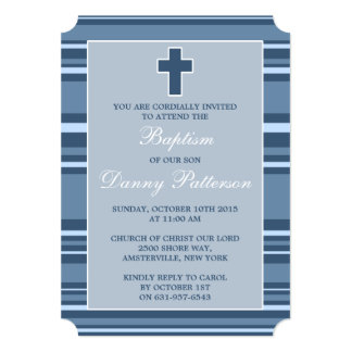 Blue Stripe Modern Cross First Holy Communion 5x7 Paper Invitation Card