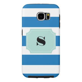 Blue stripe monogram Samsung S6 Tough Case