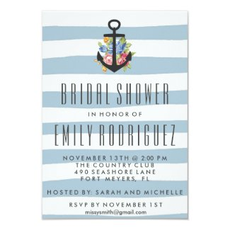 Blue Stripe Nautical Rose Bridal Shower Invitation