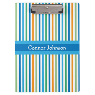 Blue Stripe Personalized Clipboard