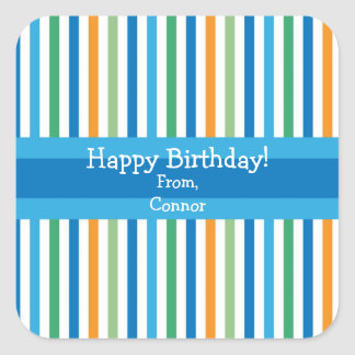Blue Stripe Personalized Gift Stickers