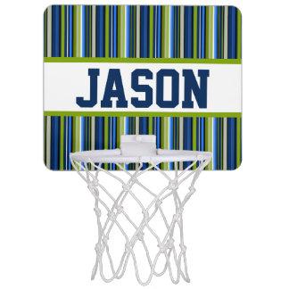 Blue Stripe Personalized Mini-Basketball Goal Mini Basketball Backboard