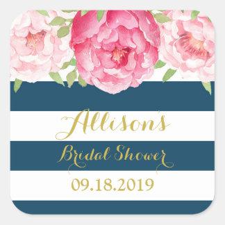 Blue Stripe Pink Floral Bridal Shower Favor Tag