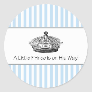 Blue Stripe Prince Crown Baby Boy Envelope Seal Round Sticker