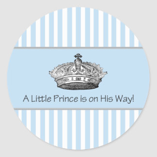 Blue Stripe Prince Crown Baby Boy Envelope Seal Classic Round Sticker