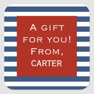 Blue Stripe Red Frame Personalized Gift Sticker