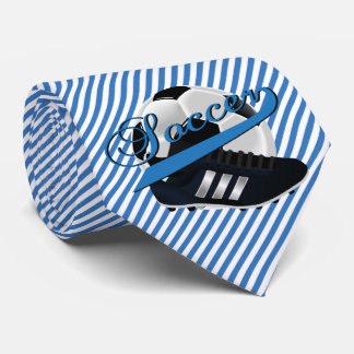 Blue Stripe Soccer Player Neck Tie