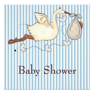 Blue Stripe Stork Baby Boy Shower 5.25x5.25 Square Paper Invitation Card