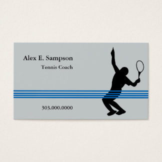 Blue Stripe Tennis Coach Business Card