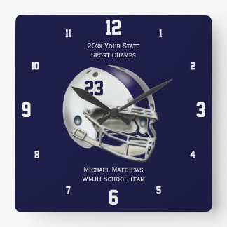 Blue Stripe White Football Helmet Name Clock