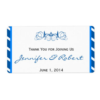 Blue Stripe with Floral Accent Water Bottle Label Shipping Label