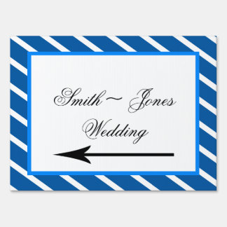 Blue Stripe with Floral Wedding Direction Sign