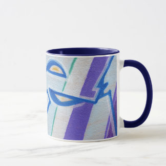 Blue striped abstract graffitis mug