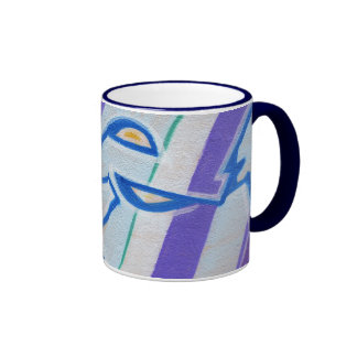 Blue striped abstract graffitis ringer coffee mug
